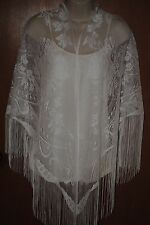 HERITAGE LACE WHITE FLOWER/LEAVES LADIES SHAWL/WRAP WITH FRINGE ITEM A25