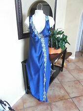 Luxurious Silk Satin Sexy Long BLUE Lace Nightgown Slip Coemi Europe Size Large