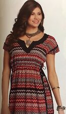 Womens Tunic L Country Western Aztec Crochet Red White Black Cowgirl Dress