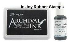Ranger Jet Black Archival Ink Pad + Reinker Acid-free Permanent Waterproof