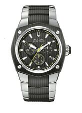 New Bulova Accutron 65B123 Men's Corvara Watch Stainless Steel and Black Band