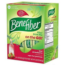 Benefiber Fiber Drink Mix On the Go! Stick Packs, Kiwi Strawberry 24 ea (2 pack)