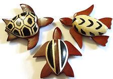 Lot de 3 Magnet Aimant Tortue Bois Frigo Artisanal Animal Turtle Peint wooden