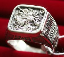 NEW LARGE RUSSIAN ORTHODOX ICON RING w/ ST. GEORGE WARRIOR. SILVER 925 AUTHENTIC