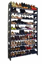 50 Pair 10 Tier Space Saving Storage Organizer Free Standing Shoe Tower Rack