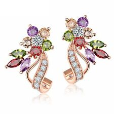 NiX 1487 High Quality Colorful Zircon AD Stud Earrings Gold Color Gift Women