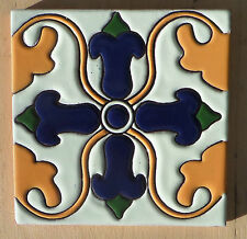 """8~MEXICAN TALAVERA POTTERY 6"""" tile Hand Painted Hi Relief Gold White Cobalt Blue"""