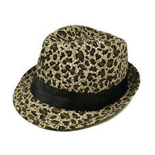 Animal Print Ribbon Band Fedora Straw Hat - Different Colors & Prints Avail