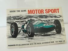 RAC Know The Game of Motor Sport Booklet  History of Motor Sport Booklet
