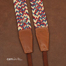 Woven cotton strap by Cam-in - Cream/Red/Blue