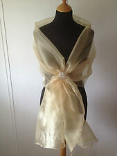 YELLOW GOLD CRYSTAL ORGANZA WRAP SHAWL, WEDDING,BRIDE PROM CRUISE*free samples*