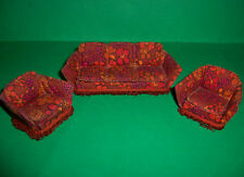 VINTAGE 1970's LUNDBY DOLLS HOUSE THREE PIECE LOUNGE SUITE