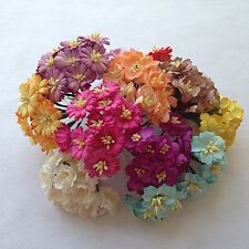120 Assorted Cherry Blossom, Daisy Mulberry Paper Flowers Scrapbook, Wedding