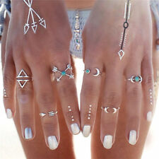 Fashion Jewelry Set Silver Plated Plain Above Knuckle Ring Band Midi Ring 6PCS