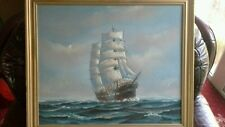 Large original oil painting of Ship / galleon at sea  , on canvas gold frame