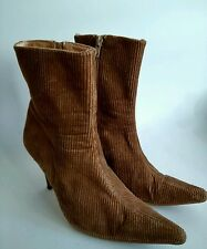 Faith Womens Brown Corduroy High Heeled Ankle Boots Size UK 5 EUR 38