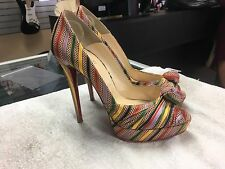 Christian Louboutin Greissimo Knot Multicolor Striped Pumps Heels (Size 40.5)