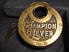 Antique Champion Lock - Push Key Champion 6 Lever Lock With Key Antique Padlock