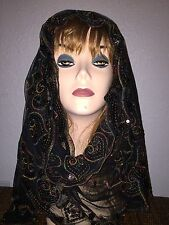 Black Long Scarf Hijab Wrap Sheer pretty and fashionable w/metallic thread