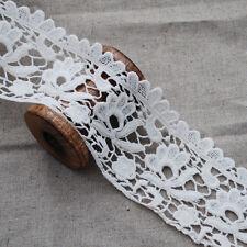 Cotton Guipure Lace Trim - 1 Metre - Floral Flower - Bridal - Cream - 7.5cm Wide