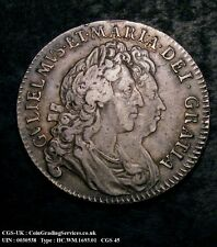 1693 WILLIAM & MARY HALFCROWN CGS GRADED 45 SPINK 3436 ENCAPSULATED