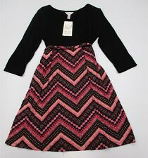 new MA CHERIE MATERNITY #DR1017 Women's Size M 3/4 Sleeve Chevron Black Dress