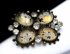 Antique Victorian Enamelled Art Glass Cabochons Brooch Pin Pastes