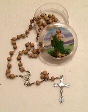Saint Jude Thaddeus Rose scented  wood Rosary beads