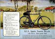 033 Bsa Sports Tourist Bicycle 1938 Vintage Photo Print A4