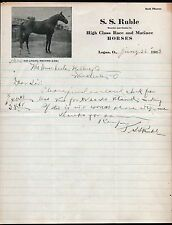 1913 Race Horse Breeder S S Ruble - Kid Logan Champion Logan OH Letter head RARE