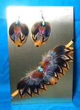 Feathered Earrings & Choker Necklace Set Pheasant Feathers & Turquoise FNE02