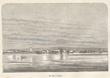A4963 Romania - Sulina - Panorama - Xilografia Antica del 1895 - Engraving