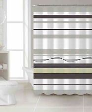 100% Cotton Fabric Shower Curtain: Brown, Taupe and Sage, Stripe Design