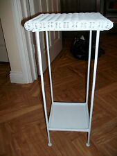 Loom style grey white painted wicker metal small square side lamp table stand gc
