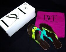 DVF DIANE von FURSTENBERG, DAWN SANDALS  - GREEN METALLIC  9.5M NIB $220