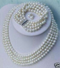 Charming 4 Rows Real Natural White Pearl Necklace Bracelet Earring Jewelry Set
