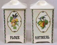 Vintage Czech Pair Porcelain Kitchen Canisters Bird and Fruit Motif
