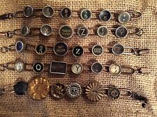 Vintage Antique'd Copper Hand Crafted Typewriter Key or Vintage Button Bracelet