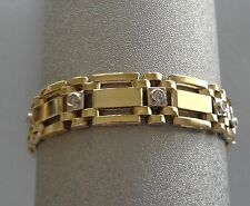 MEN'S POLISHED 14K YELLOW GOLD CHAIN LINK BRACELET W/ DIAMOND STATIONS - 30 GRAM
