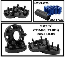 FITS NISSAN 350Z 370Z BLK HUBCENTRIC WHEEL SPACERS + 20 BLUE 12x1.25 LUG NUTS