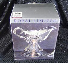 B012 Royal Limited Silver Plate Gravy Boat with Warmer Candle NIB NOS NEW