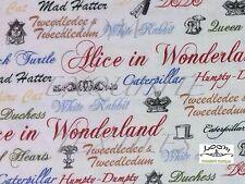 RPG325 Alice In Wonderland Script Mad Hatter Rabbit Turtle Cotton Quilt Fabric