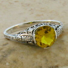 GOLDEN LAB CITRINE ANTIQUE DECO STYLE .925 STERLING SILVER FILIGREE RING Sz 8,#4