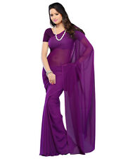 Plain georgette heavy viscose saree by Purple Oyster