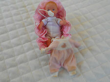 1988 Lewis Galoob Doll, Pacifier & Cradle With Ruffled Cloth Liner & Pillow