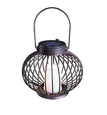 LED LANTERN SOLAR FLICKRING CANDLE LIGHT OUTDOOR BLACK METAL CAGE HANGING 204303