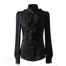 long sleeve office blouse Victorian Lace Career Shirt Womens Satin Top Size