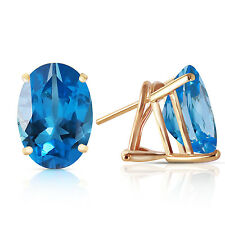 16 Carat 14K Solid Gold French Clips Earrings Natural Blue Topaz