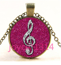 Vintage Rose musical note Cabochon bronze Glass Chain Pendant Necklace TS-3936