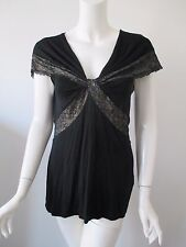Anthropologie LIL Black Lace Trims Tie Knot Front V Neck Stretch Rayon Top M